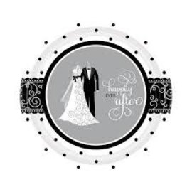 Black and White Wedding Dessert Plate