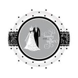 Black and White Wedding Dessert Plate
