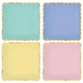 Spring Pastels Scalloped Dessert Plates