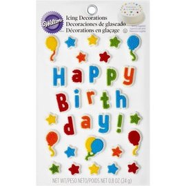 Happy Birthday Stars and Balloons Icing Decoration
