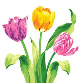 Bright Tulips Luncheon Napkins