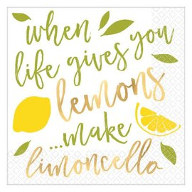Lemons Hot-Stamped Beverage Napkins