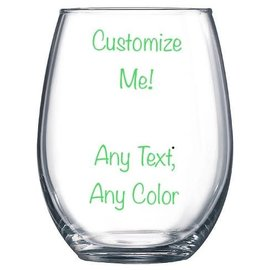 Wine Glass Steamless- Customizable