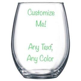 Wine Glass Stemless- Customizable