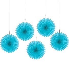 Caribbean Blue Mini Hanging Fan Decorations