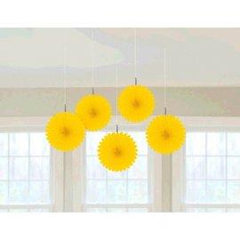 Yellow Sunshine Mini Hanging Fan Decorations