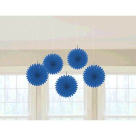Bright Royal Blue Mini Hanging Fan Decorations
