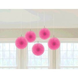 Bright Pink Mini Hanging Fan Decorations