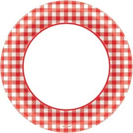 "Picnic Gingham Round Plates, 6 3/4""-40ct"