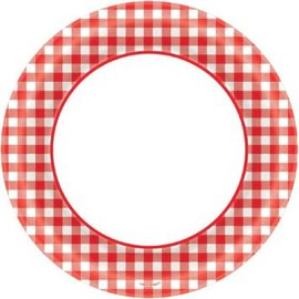 "Picnic Gingham Round Plates, 8 1/2""-40ct"