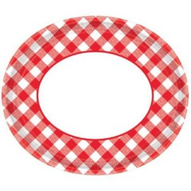 "Picnic Gingham Oval Plates, 12"" -18ct"