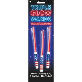 Patriotic Triple Glow Stick Wands