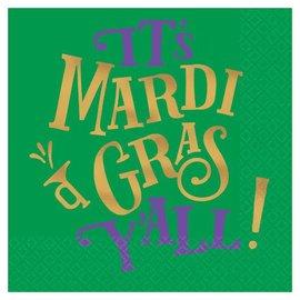 Mardi Gras Y'all Beverage Napkins 16ct
