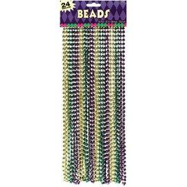 Metallic Bead Necklace - Green, Gold & Purple 24ct