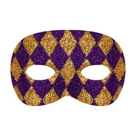 Harlequin Glitter Plastic Mask