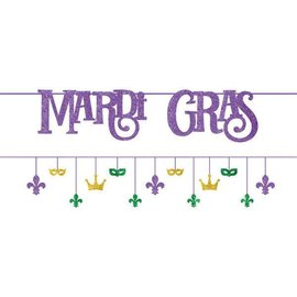 "Mardi Gras Multi-Pack Banners Contains: 2 Ribbons, 12' Cutouts, 1 1/2"" - 8"" Paper and Glitter 2 in a package"