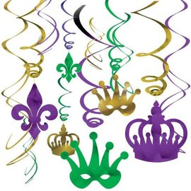 Mardi Gras Foil Swirl Value Pack Hanging Decorations 12ct