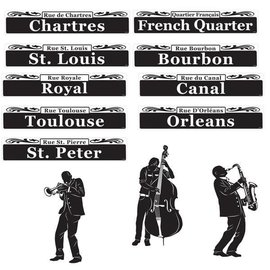 "Mardi Gras Bourbon Street Cutouts   Contains: 9 Street Signs, 24"" 3 Musicians, 17 1/2"", 15 3/4"", 15 5/8"" 12 in a package"