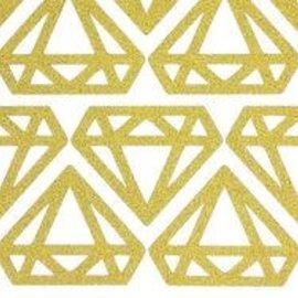 Gold Glitter Diamond Sticker Sheet 12ct