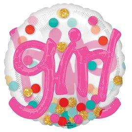 "Its A Girl Confetti Dots Balloon, 36"""