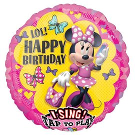 Minnie Happy Birthday Sing-a-Tune Balloon, 28""