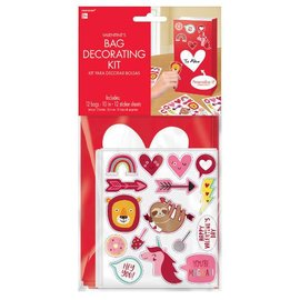 """Decorate Your Valentine Bag Kit                  Contains: 12 Sticker Sheets, 5 3/4"""" x 5"""" 12 Paper Bags, 10""""H x 5""""W x 3""""D Gusset 12 in a package"""