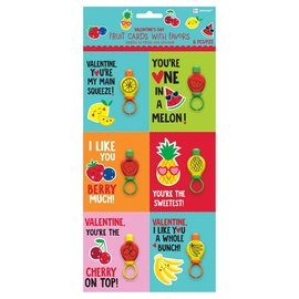 """Fruit Valentine Cards w/ Bubble Ring         Contains: 6 Cards, 4"""" x 3 1/3"""" 6 Bubble Rings: 2 1/4"""" x 1"""" 6 in a package"""