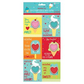 """Ice Cream Valentine Cards w/ Slime      Contains: 6 Cards, 4"""" x 3 1/3"""" 6 Slime Favors, 1 1/3"""" x 1 1/2"""" 6 in a package"""