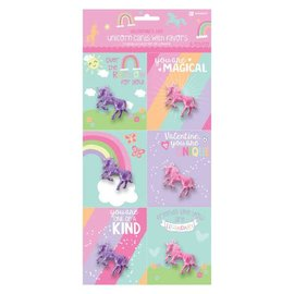 """Unicorn Valentine Cards w/ Figurine          Contains: 6 Cards, 4"""" x 3 1/3"""" 6 Unicorns, 2"""" 6 in a package"""