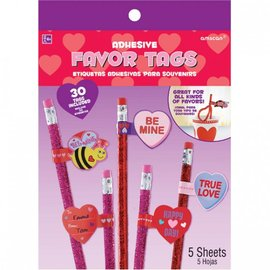 Valentine's Adhesive Favor Tags, 30ct