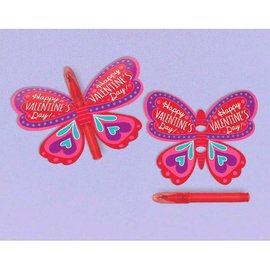 Valentine Butterfly Cards w/Mini Pens, 12ct