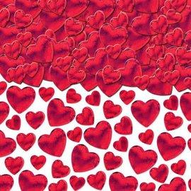 Red Metallic Hearts Confetti     2 1/2 oz