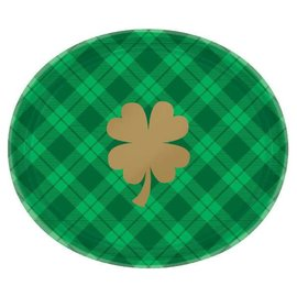 "St. Patrick's Day Plaid Oval Plates 18ct 10 1/2"" x 12"""