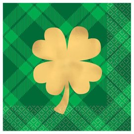 Gold Shamrock Beverage Napkins