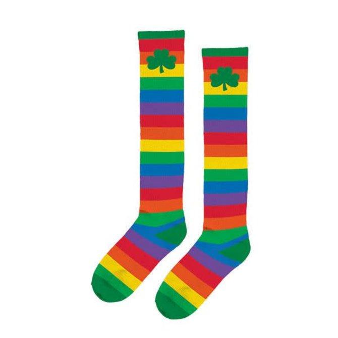 Adult Rainbow Shamrock Knee Socks
