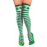 Adult Green & White Striped Thigh High Stockings with Shamrocks