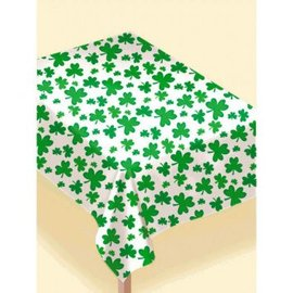 "Shamrocks Flannel-Backed Vinyl Table Cover       52"" x 90"""