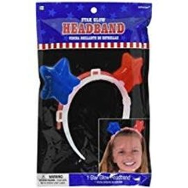 "Patriotic Party Stars Glow Headband, 6"" x 6 5/8"""