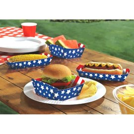 Red, White And Blue Paper Food Trays