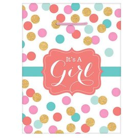 """It's A Baby Girl Large Gift Bag               13""""H x 10 1/2""""W x 5""""D"""