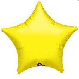 """Metallic Yellow Star Balloon, 19"""""""