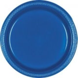 "Bright Royal Blue Plastic Plates 9"", 20ct"