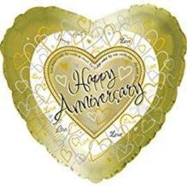 "Happy Anniversary Gold Balloon, 18"" (#203)"