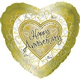 "Happy Anniversary Gold Balloon, 18"""