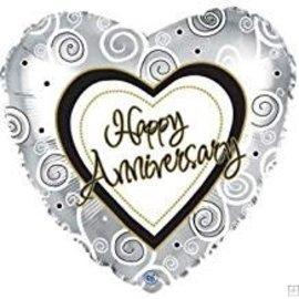"Happy Anniversary Silver Balloon, 18"""