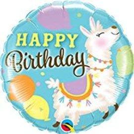 "Happy Birthday Llama Balloon, 18"""