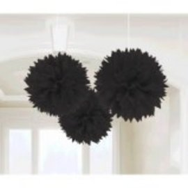 Jet Black Fluffy Paper Decorations, 3ct