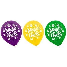 Mardi Gras Latex Balloons 15ct asst. colors