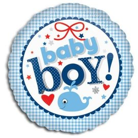 "New Baby Boy Gingham Balloon, 18"" (#16)"