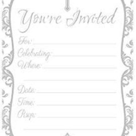 First Communion Invitations- Gray, 20ct